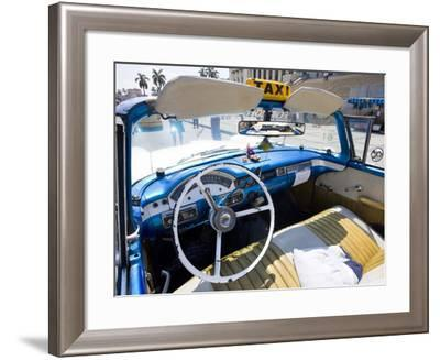 Interior of Old American Car Being Used As a Taxi, Havana, Cuba--Framed Photographic Print