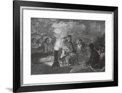 Interior of Our Winter Hut at Camp Clay, During Cooking, 1883 Pub. London 1886-J. Steeple Davis-Framed Giclee Print