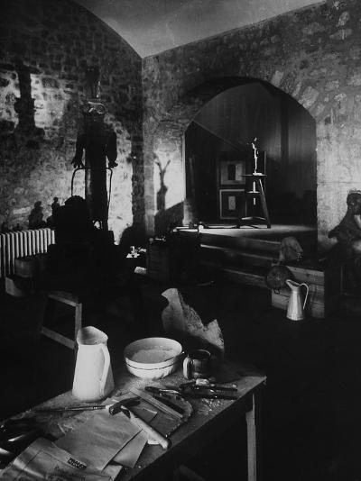 Interior of Picasso's Workshop at Notre-Dame-De-Vie-Gjon Mili-Photographic Print