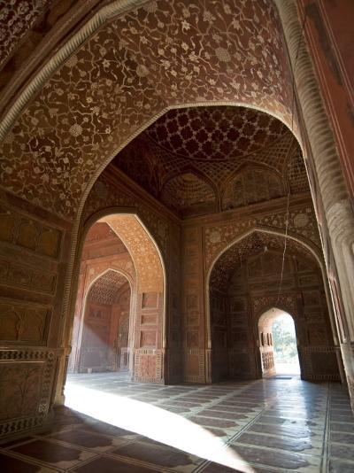 Interior of Red Sandstone Mosque at the Taj Mahal, Agra, Uttar Pradesh-Annie Owen-Photographic Print