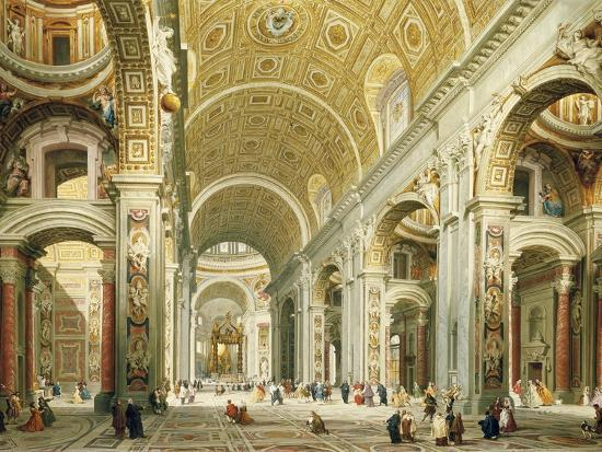 Interior of Saint Peter's Rome, Looking West Towards the Tomb of St. Peter-Giovanni Paolo Panini-Giclee Print