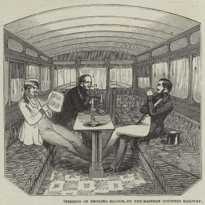 Interior of Smoking Saloon, on the Eastern Counties Railway--Giclee Print