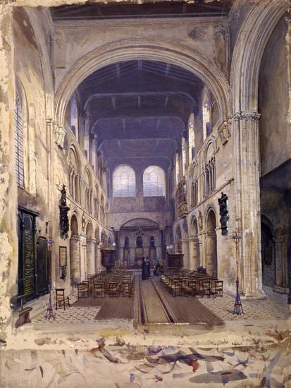 Interior of St Bartholomew's Priory, London, 1880-John Crowther-Giclee Print