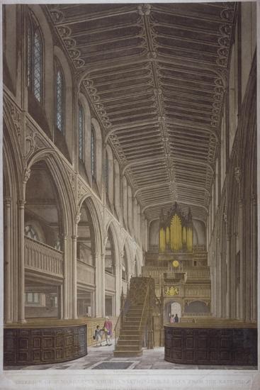 Interior of St Margaret's Church, Westminster, London, 1804-George Hawkins-Giclee Print