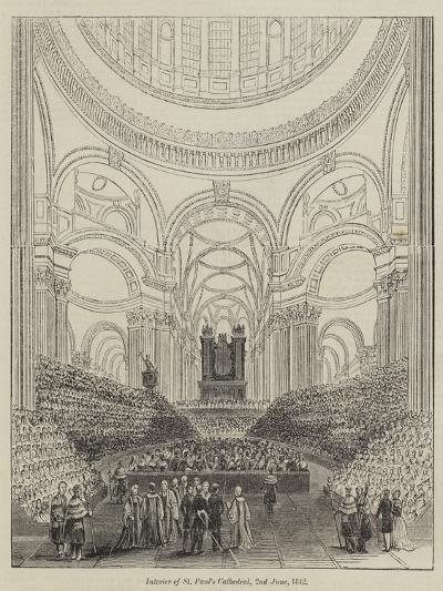 Interior of St Paul's Cathedral, 2 June 1842--Giclee Print