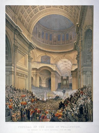 Interior of St Paul's Cathedral During the Funeral of the Duke of Wellington, London, 1852-William Simpson-Giclee Print