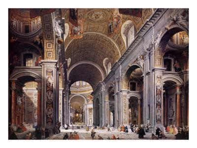 Interior of St. Peter's, Rome-Giovanni Paolo Pannini-Art Print