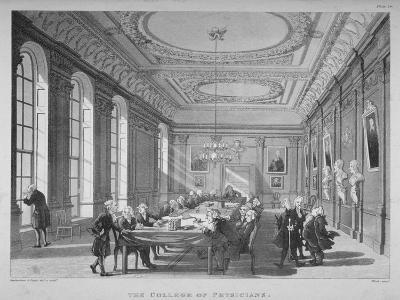 Interior of the Boardroom with Board Members, College of Physicians, City of London, 1808-Thomas Rowlandson-Giclee Print