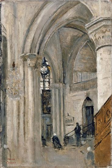Interior of the Church at Mantes-Jean-Baptiste-Camille Corot-Giclee Print