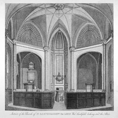 Interior of the Church of St Bartholomew-The-Less Looking Towards the Altar, City of London, 1834--Giclee Print