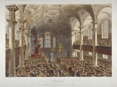 Interior of the Church of St Martin-In-The-Fields, Westminster, London, 1809-Thomas Rowlandson-Giclee Print
