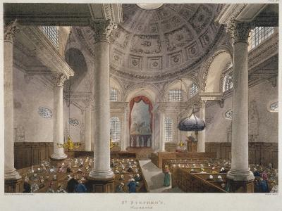 Interior of the Church of St Stephen Walbrook During a Service, City of London, 1809-Augustus Charles Pugin-Giclee Print