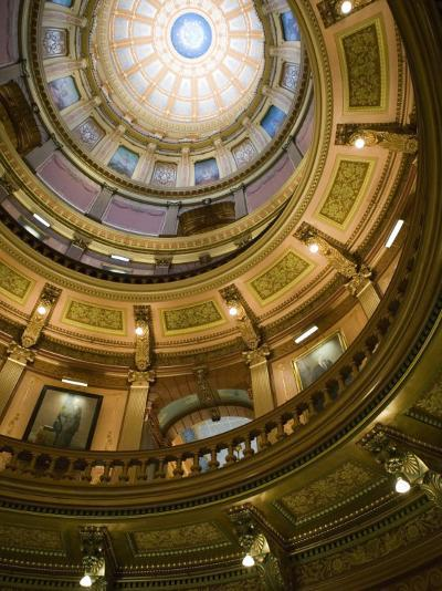 Interior of the Dome, State Capitol, Lansing, Michigan-Walter Bibikow-Photographic Print