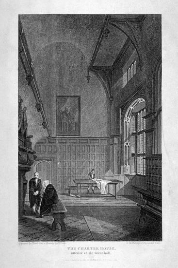 Interior of the Great Hall, Charterhouse, Finsbury, London, 1815-J Lewis-Giclee Print