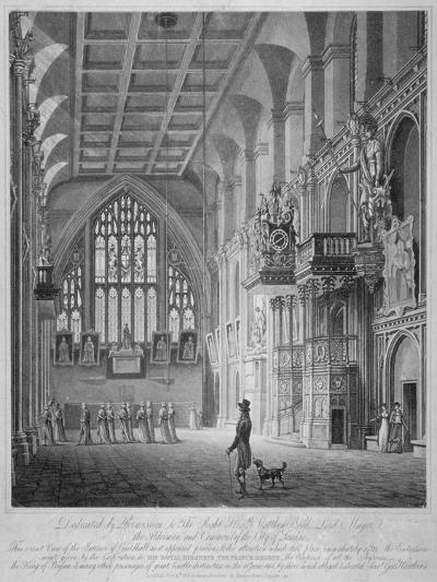 Interior of the Guildhall, City of London, 1816-George Hawkins-Giclee Print
