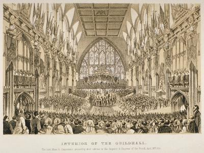 Interior of the Guildhall, City of London, 1855--Giclee Print