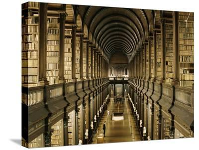 Interior of the Library, Trinity College, Dublin--Stretched Canvas Print