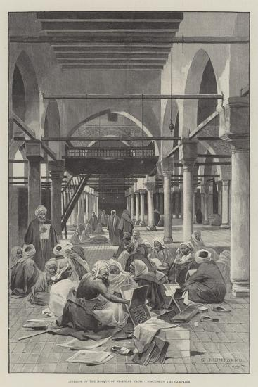 Interior of the Mosque of El-Azhar, Cairo, Discussing the Campaign-Charles Auguste Loye-Giclee Print