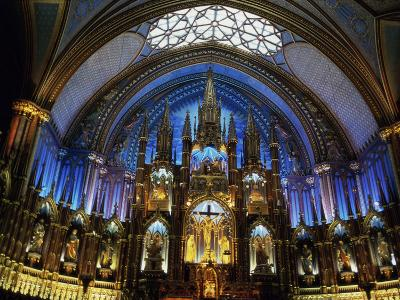 Interior of the Notre Dame Cathedral, Montreal, Quebec, Canada--Photographic Print