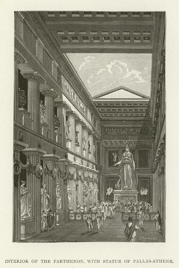 Interior of the Parthenon, with Statue of Pallas-Athene--Giclee Print