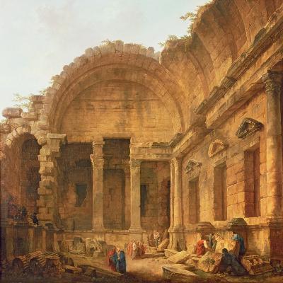 Interior of the Temple of Diana at Nimes, 1787-Hubert Robert-Giclee Print