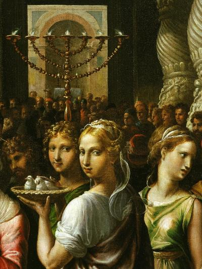Interior of the Temple of Jerusalem with Menorah and Couple Carrying a Basket of Doves-Giulio Romano-Giclee Print