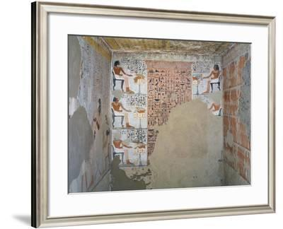 Interior of Tomb of Army General Tjenuny Covered with Mural Paintings Showing Ritual Offerings--Framed Giclee Print