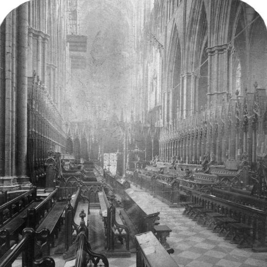 Interior of Westminster Abbey, London, Late 19th Century-Underwood & Underwood-Photographic Print