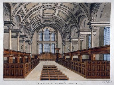 Interior View Looking East, St James's Church, Piccadilly, London, 1806-Frederick Nash-Giclee Print