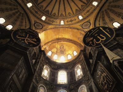Interior View Looking up Towards the Dome of the Hagia Sophia-Steve Winter-Photographic Print