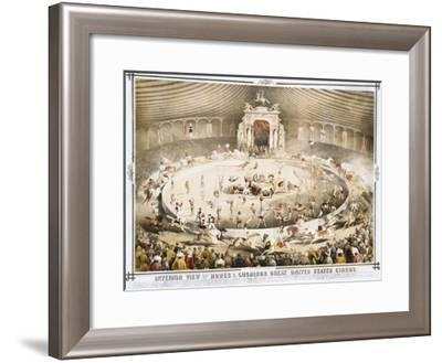 Interior View of Howes and Cushing's Great United States Circus Poster--Framed Giclee Print