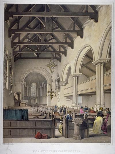 Interior View of St Leonard's Church, Bromley-By-Bow, London, C1860-George Hawkins-Giclee Print