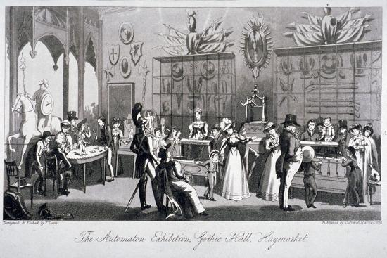 Interior View of the Automaton Exhibition in the Gothic Hall, Haymarket, London, 1826-Theodore Lane-Giclee Print