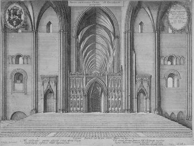 Interior View of the Choir of the Old St Paul's Cathedral from the West, City of London, 1656-Wenceslaus Hollar-Giclee Print