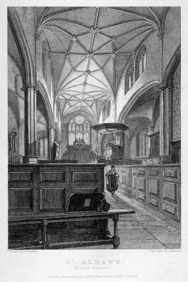 Interior View of the Church of St Alban, Wood Street, City of London, 1838-J Lemon-Giclee Print
