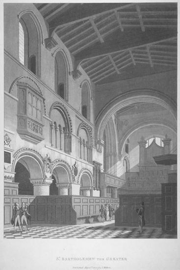 Interior View of the Church of St Bartholomew-The-Great, Smithfield, City of London, 1800--Giclee Print