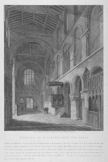 Interior View of the Church of St Bartholomew-The-Great, Smithfield, City of London, 1814-Joseph Skelton-Giclee Print