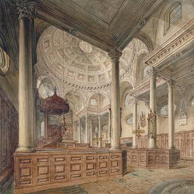 Interior View of the Church of St Stephen Walbrook, City of London, 1811-John Coney-Giclee Print