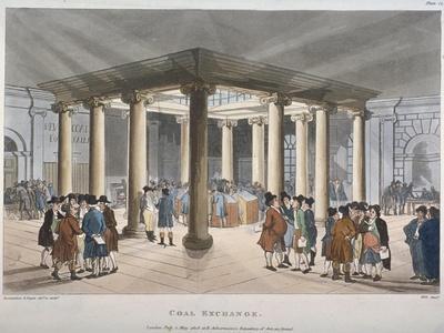 Interior View of the Coal Exchange, Thames Street, City of London, 1808-Thomas Rowlandson-Giclee Print