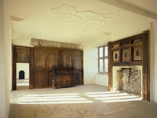 Interior View of the First Floor Room in the Tudor Mansion, Helmsley Castle, North Yorkshire, UK-English Heritage-Photo