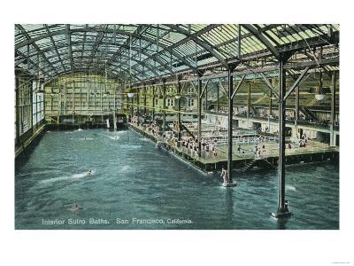 Interior View of the Indoor Sutro Baths - San Francisco, CA-Lantern Press-Art Print