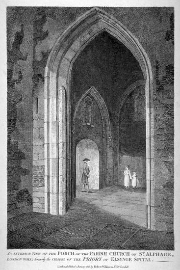 Interior View of the Porch of the Church of St Alfege, London Wall, London, 1815-William Wise-Giclee Print