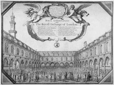 Interior View of the Royal Exchange Filled with Figures, City of London, 1644-Wenceslaus Hollar-Giclee Print