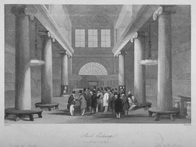 Interior View of the Stock Exchange, Bartholomew Lane, City of London, 1841-Harlen Melville-Giclee Print