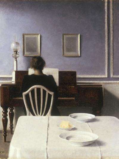 Interior with a Girl at the Clavier, 1901-Vilhelm Hammershoi-Giclee Print