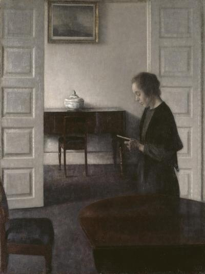Interior with a Lady Reading, c.1900-Vilhelm Hammershoi-Giclee Print