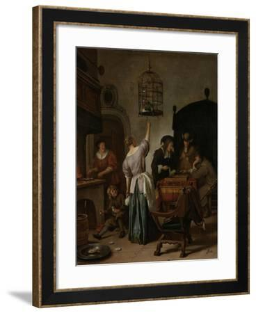 Interior with a Woman Feeding a Parrot, known as 'The Parrot Cage', C.1660-70--Framed Giclee Print