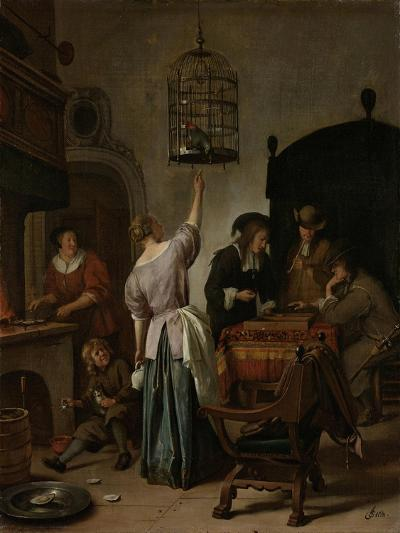 Interior with a Woman Feeding a Parrot Two Men Playing Backgammon and Other Figures, 1670-Jan Havicksz Steen-Giclee Print