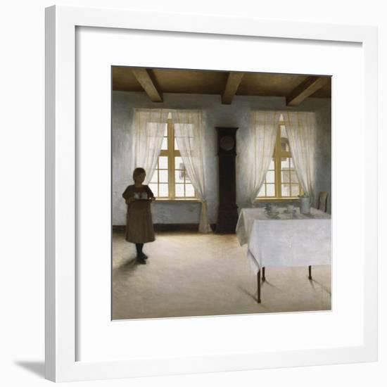 Interior with a Young Girl Serving Tea, 1901-Peter Ilsted-Framed Giclee Print