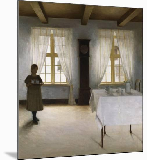 Interior with a Young Girl Serving Tea, 1901-Peter Ilsted-Mounted Giclee Print